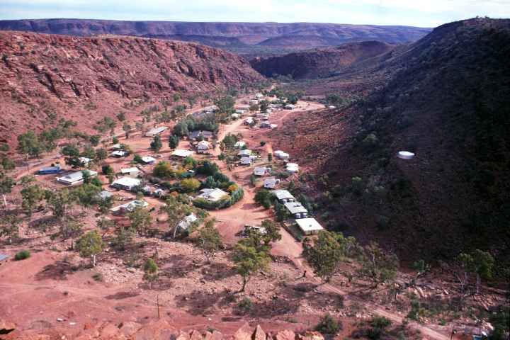 Panorama over Areyonga community from ''Helicopter Hill'', in a valley, 90 km south west of Ntaria (Hermannsburg) in Central Australia.