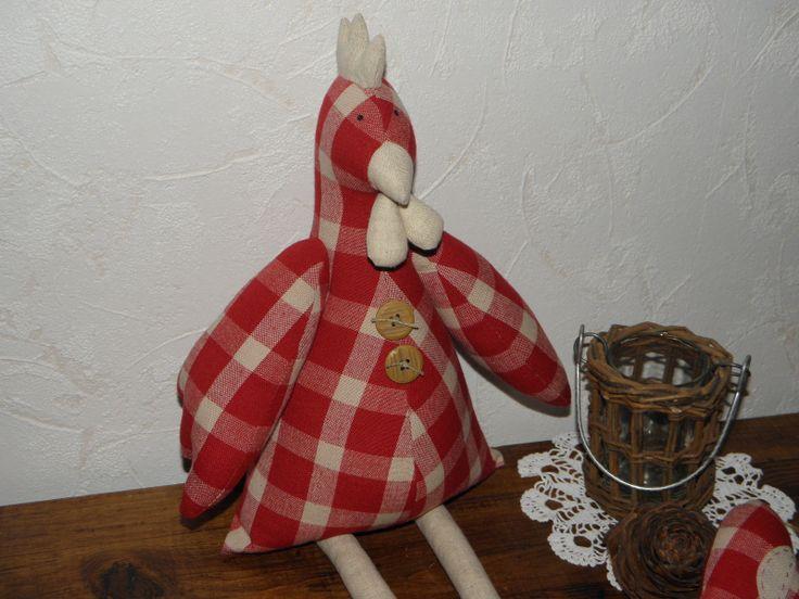 MAXI poule en lin à carreaux rouge et beige 50 cm : Accessoires de maison par lefilalinge