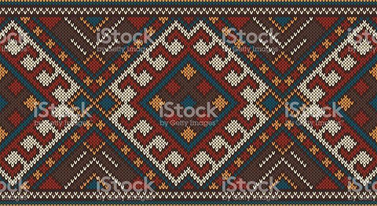 Традиционные племенной Бесшовный узор ацтеков на шерстяной вязаной текстурой Сток Вектор Стоковая фотография