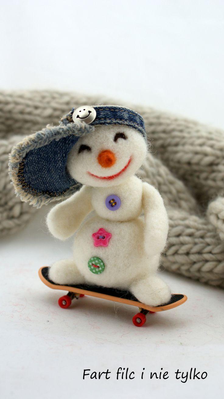 #bałwan #zima #filc  #polandhandmade #felt #ooak #teddybear #fartfilcinietylko #fartownemisie #toy