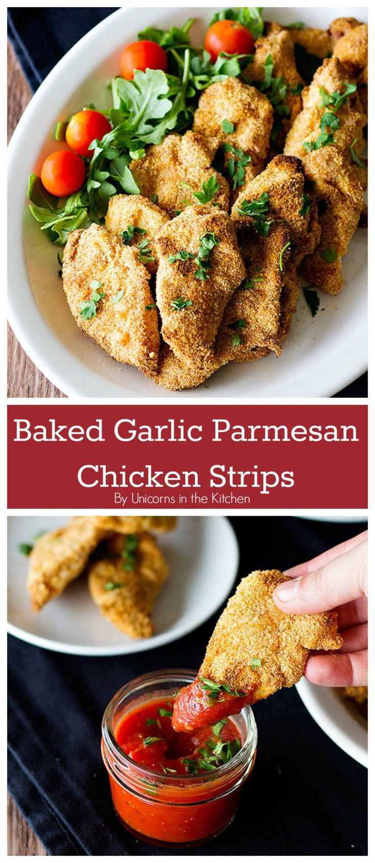 These Baked Garlic Parmesan Chicken Strips are easy and super delicious. A healthier version of one of the best loved foods out there!