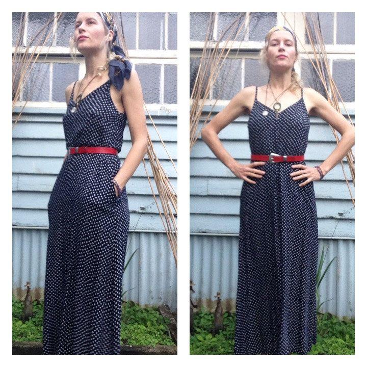 90's Maxi Boho Grunge Dress Navy Polka Dot Dress Hippie Feminine Spaghetti Strap Low Cut Back Pockets Slip Style Size S // M Folk Festival by VannaVie on Etsy