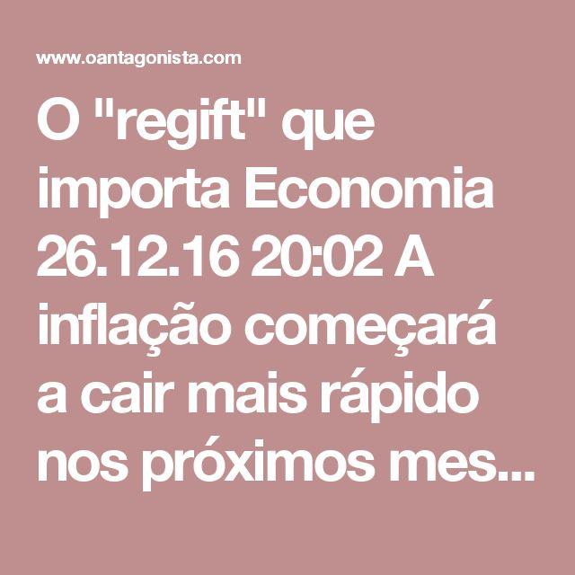 """O """"regift"""" que importa  Economia 26.12.16 20:02 A inflação começará a cair mais rápido nos próximos meses, acredita o Banco Central -- vejam abaixo o gráfico com as projeções da autoridade monetária para o IPCA.  A próxima reunião do Copom, o comitê que decide a Selic, será em 22 de fevereiro.  O tamanho da queda dos juros básicos da economia -- atualmente, em 13,75% ao ano -- será mais importante do que qualquer """"regift"""" que possa vir a ser lançado até lá."""
