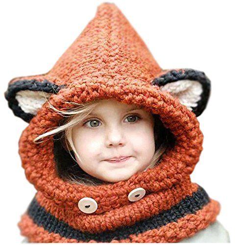 Zupo Winter Hat Beanies Crochet Warm Knitted ChunkyCaps Hooded Scarves Animal Ears for Kids boys girls (orange)