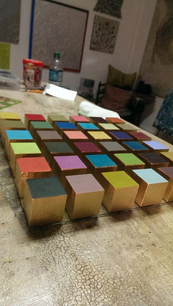 Gold wood cube modern colorful plexiglass wall art by HayatGul