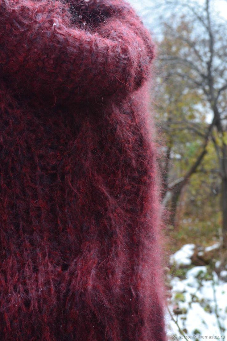 """Купить Платье - туника вязаное """" Зимние забавы"""" ручная работа. Бордовый в интернет магазине на Ярмарке Мастеров"""