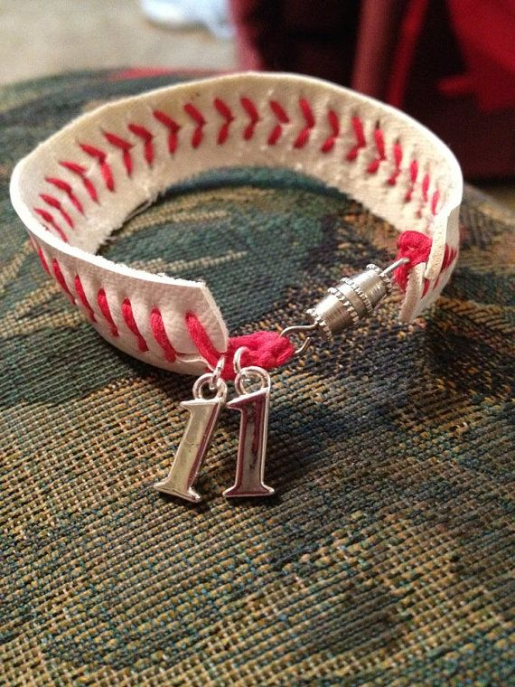 Baseball or softball bracelet by AndTheyCallMEBosse on Etsy, $12.50..cute, with their number