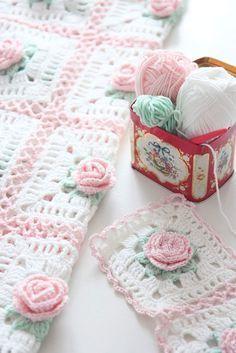Facebook, rose crochet squares blanket.