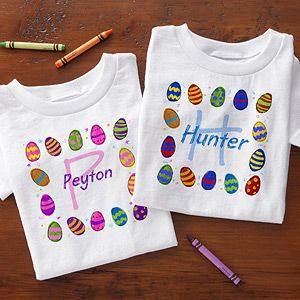 "OMG I love these cute personalized Easter T-Shirts for kids!!! You can personalize the ""Colorful Eggs"" design with any name and have it designed on a youth T-Shirt, baby onsie, baby bib or a toddler hooded sweatshirt! This is the perfect outfit for the kids to change into for the Easter Egg Hunt so they don't get their nice clothes all dirty!! #Easter #EasterEggHunt #EasterClothesPersonalized Kids, Kids Easter, Easteregghunt Eastercloth, Easter Clothing, Baby Bibs, Easter Easteregghunt, Easter Eggs, Personalized Easter, Eggs Hunting"
