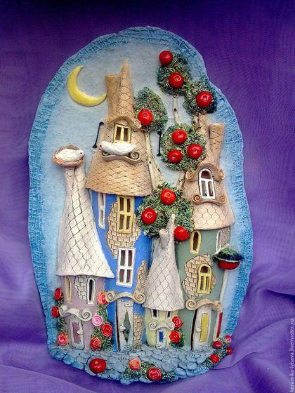 """Город ручной работы. Ярмарка Мастеров - ручная работа. Купить Панно""""Ночной город"""".. Handmade. Голубой, город, свадебный подарок, глазури"""