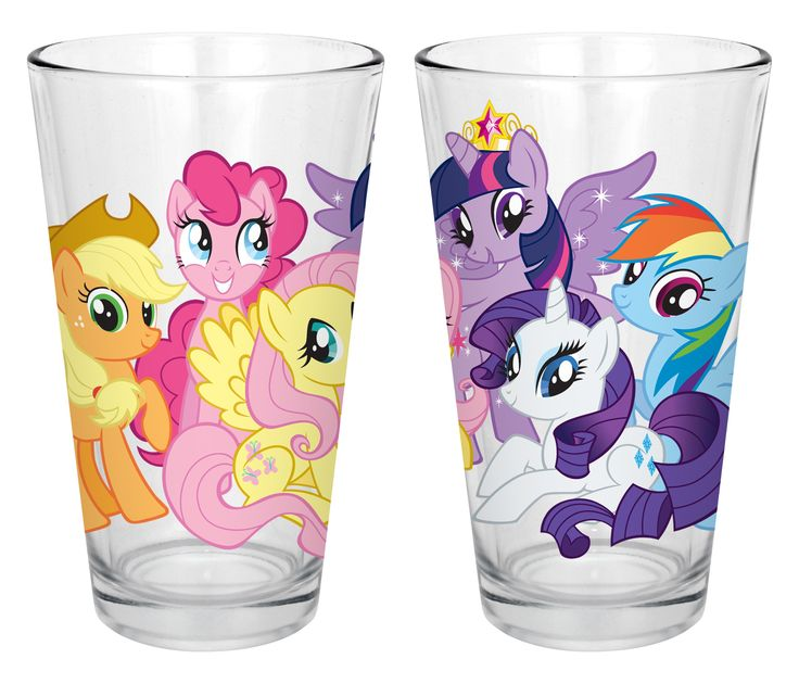 Hasbro My Little Pony Group Ponies 6 Piece Milk Glasses Set