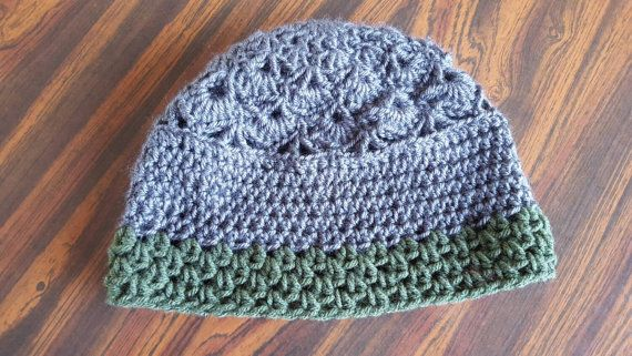 Check out this item in my Etsy shop https://www.etsy.com/ca/listing/259591803/grey-and-dark-green-tri-style-beanie
