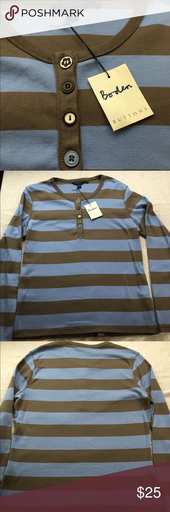 NWT Boden Henley Top NWT BODEN Henley top! Cute buttons green and blue stripes Boden Tops Tees - Long Sleeve
