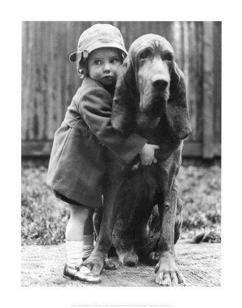//: Little Girls, Hound Dog, Best Friends, Vintage Photos, Bestfriends, Pet, Art Prints, Big Dogs, Animal