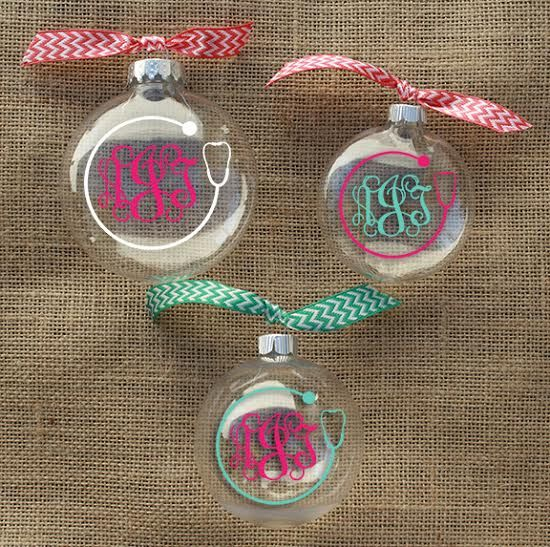 This ornament features a preppy stethoscope with your custom monogram. Place your order at www.underthecarolinamoon.com  #UTCM #UnderTheCarolinaMoon #Nurse #NurseOrnament