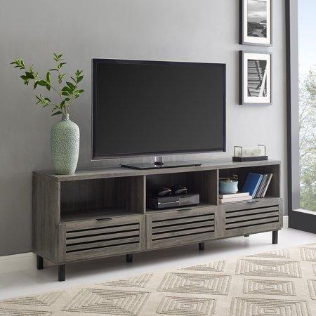 70 Quot Jackson Slat Door Media Storage Console Tv Stand