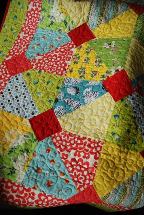charms or layer cakes quilt - could also use the 10 minute block method to make this quilt, after creating the large blocks from 2 half square triangles