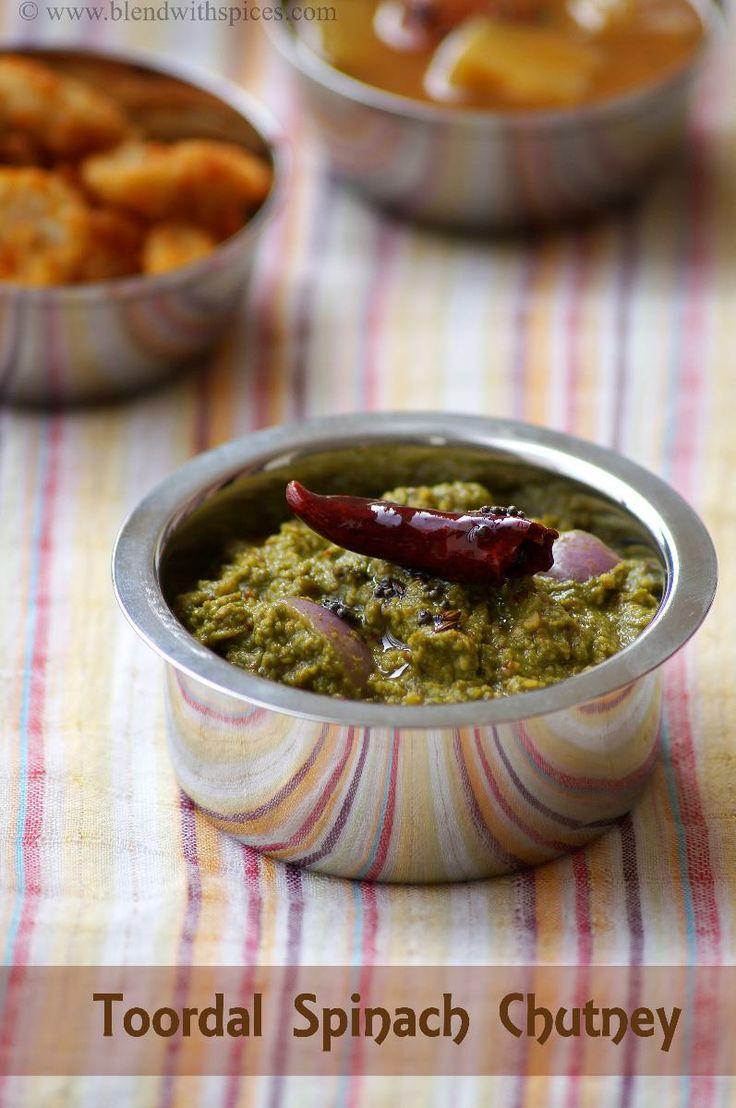 Palakura Kandi Pachadi Recipe ~ Spinach Toor Dal Chutney Recipe | Indian Cuisine