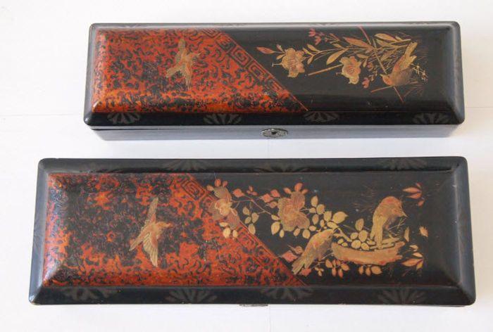 Online veilinghuis Catawiki: Handbeschilderde lakdoos (twee stuks)  Japan