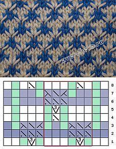 узор 234 колючки | каталог вязаных спицами узоров
