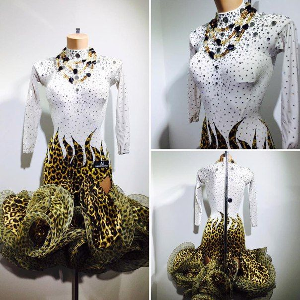 White gold and black Latin dress with horsehair ruffle skirt leopard ...