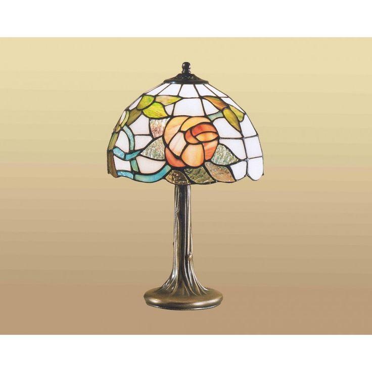 Lampada Tiffany da Tavolo con disegno di una Rosa e foglie Verdi. Base in Resina a forma di Tronco d'Albero.