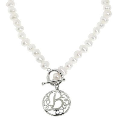 golden moon Look at this #zulilyfind! Pearl & Sterling Silver Initial Pendant Necklace #zulilyfinds