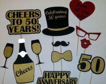 50-jarig jubileum foto Prop / gouden jubileum / door CraftyBooth