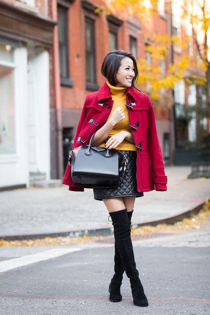 Fall Colors :: Red duffle coat & Yellow knit