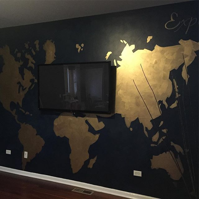 Beautiful World Map on Feature Focal Wall with brushed Pale Gold Metallic Paint by Modern Masters   Beautiful decorative painting project on accent wall by Jittaun Priest of Something Creative by JT