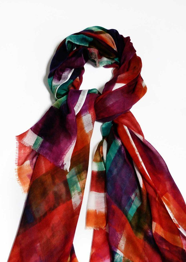 Cashmere Scarf | 19 andrea's 47 | Red Madras