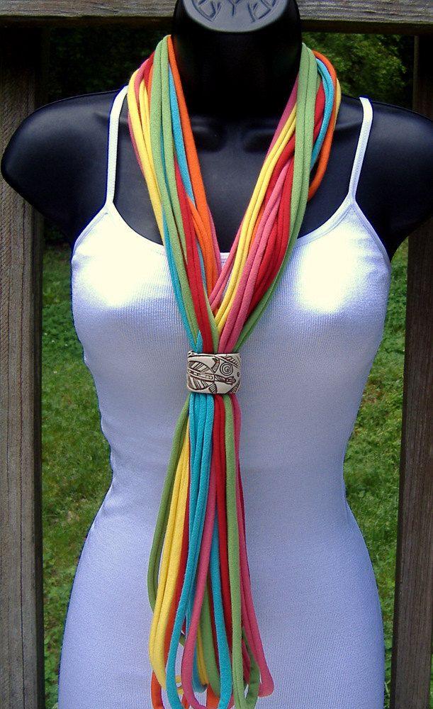 T Shirt Scarf - Necklace-Multicolor. $15.00, via Etsy.