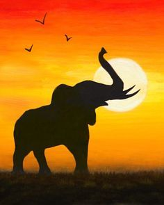 Image result for animal sunset paintings