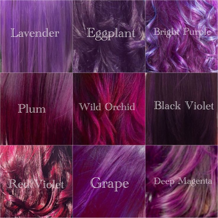 My Shades of Violet Hair color, purple tones, lavander, eggplant, magenta, wild orchid, plum, blue hair color. #haircolor #purplehair #JenniferWarner(Pastel Hair Tips)