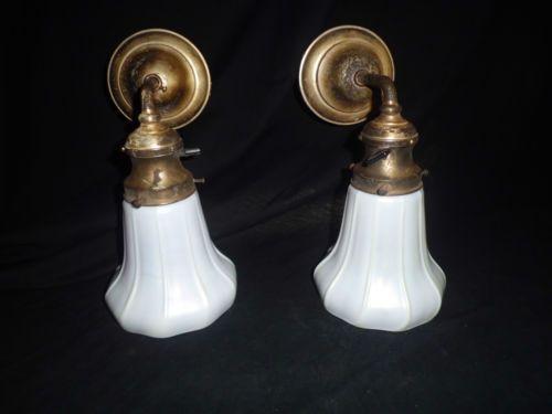 Pr Silver Plate Brass Nouveau Sconce Steuben White Gold Aurene Art Glass Shade
