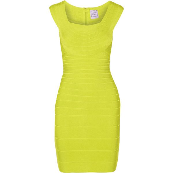 Hervé Léger Elene bandage mini dress (£502) ❤ liked on Polyvore featuring dresses, chartreuse, short dresses, short bandage dress, bandage dress, hervé léger and chartreuse dress