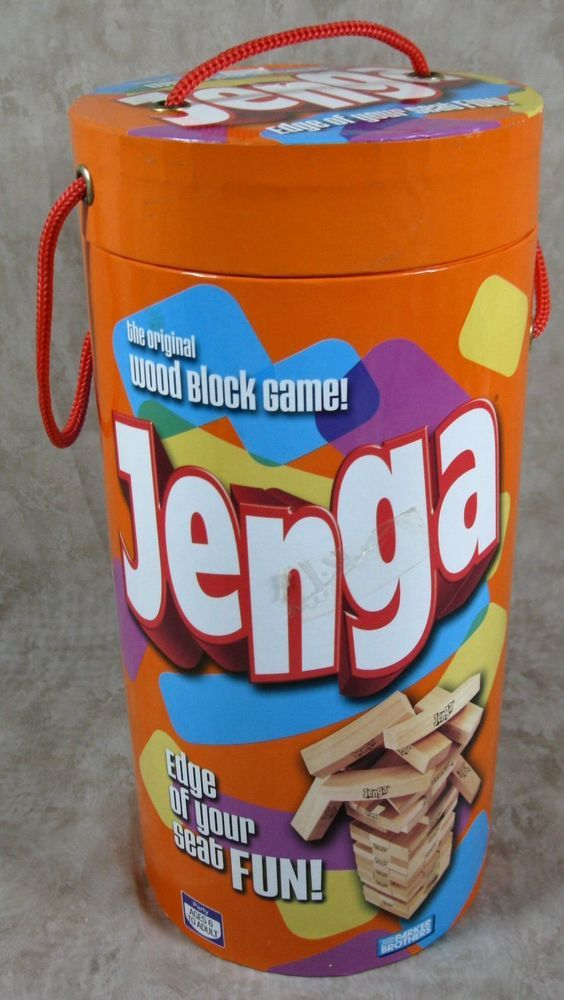 Jenga Original Wood Block Game Parker Brothers 2006 Complete In Round Container #ParkerBrothersJenga