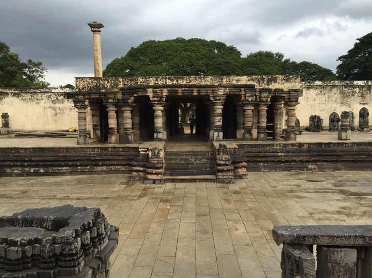 View of inner part of entrance tower as viewed from temple steps. At Chennakeshava temple in Somanathapura