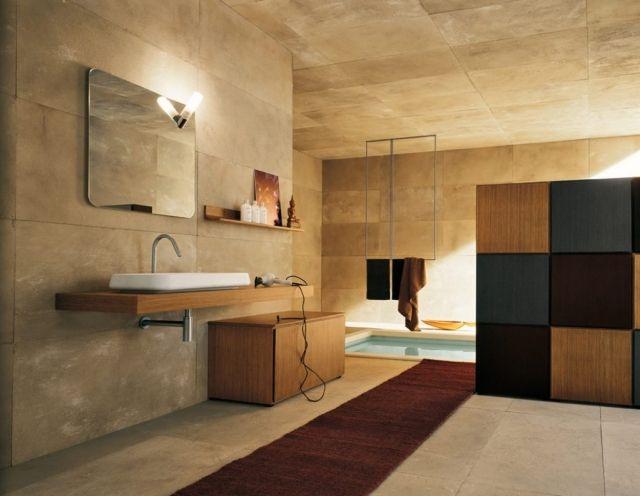 Bad Wandgestaltung Großformatige Badezimmer Fliesen Sandstein Look