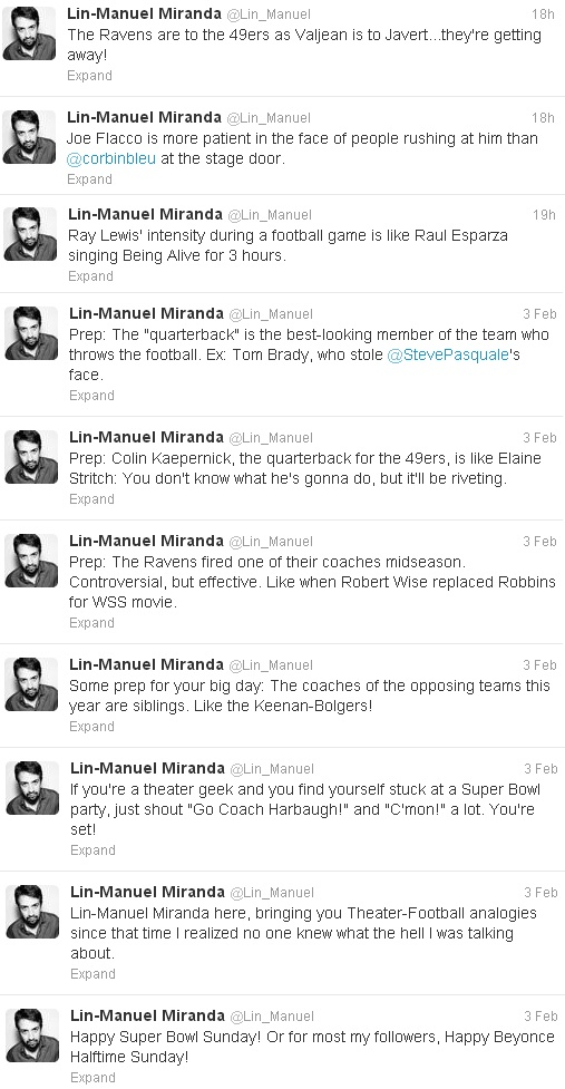 Lin-Manuel Miranda Explains the Super Bowl for Theater People.