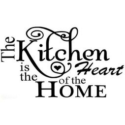 ( Väggdekor, Väggord ) The Kitchen is the Heart of the HOME
