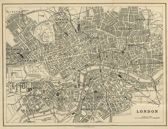 London map 19th century scanned version of an by InstantPrintable, $1.80