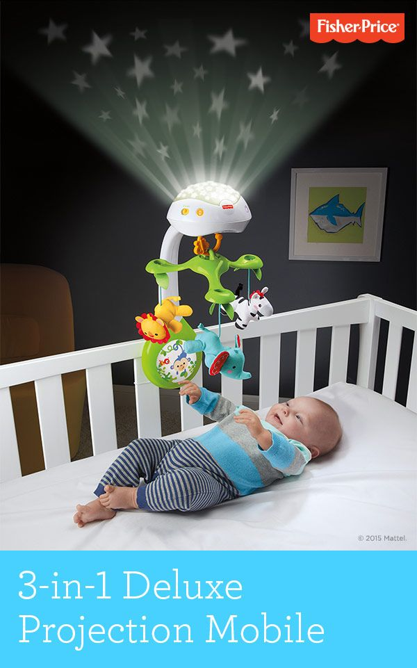 Little ones love gazing up at this motorized crib mobile with starry light projection and soothing audio. As baby grows, convert the Fisher-Price® Rainforest Friends 3-in-1 Projection Mobile to a tabletop projection soother, or link to the stroller canopy. Birth & up.