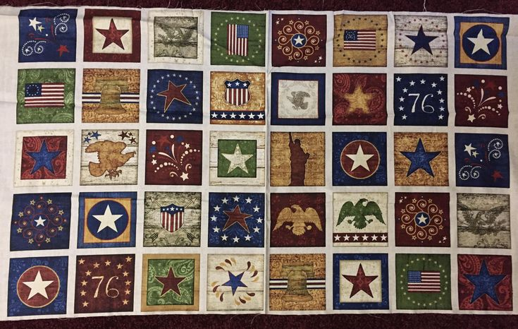 Stars and Stripes 100% cotton fabric panel 24x44 - 40 blocks per panel - Dan Morris for Quilting Treasures by pmscrafts on Etsy