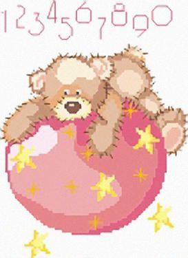 Punto croce orso mondo rosa