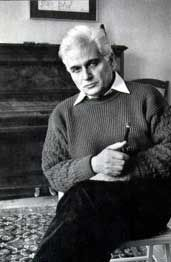 """Jacques Derrida (1930 - 2004) French Philosopher. Best remembered for his """"deconstruction theory"""" - a complex school of thought which unpicks text in order to reveal its hidden meanings."""