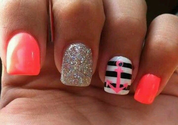 Pretty sailors nail design. I wish I could do my nails like this!!