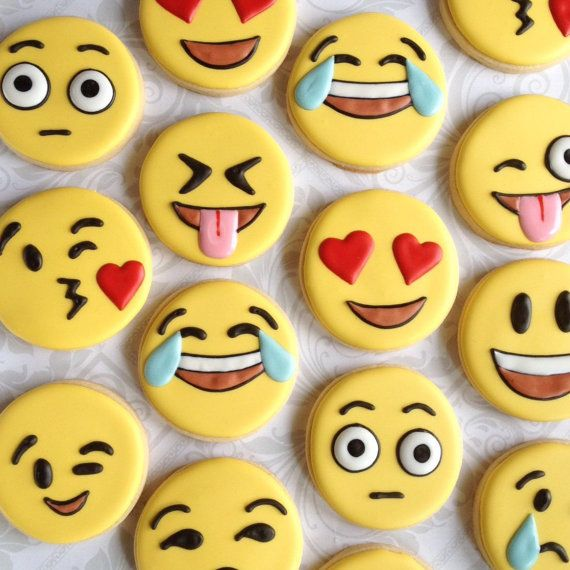 Fun Emoji / Emoticon cookies - One Dozen Decorated Sugar Cookies - Perfect for any occasion
