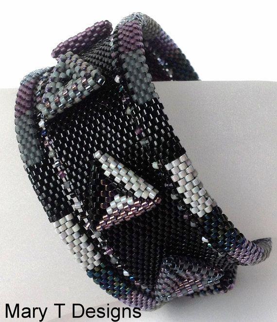 OtherWorldly+Beadwoven+Bangle+Cuff+Bracelet...EBW+by+MaryTDesigns,+$90.00