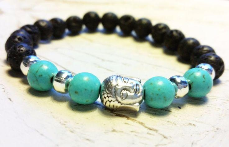 Buddha Armband Chakra Lava Stein Howlith Halbedelstein schwarz türkis silber